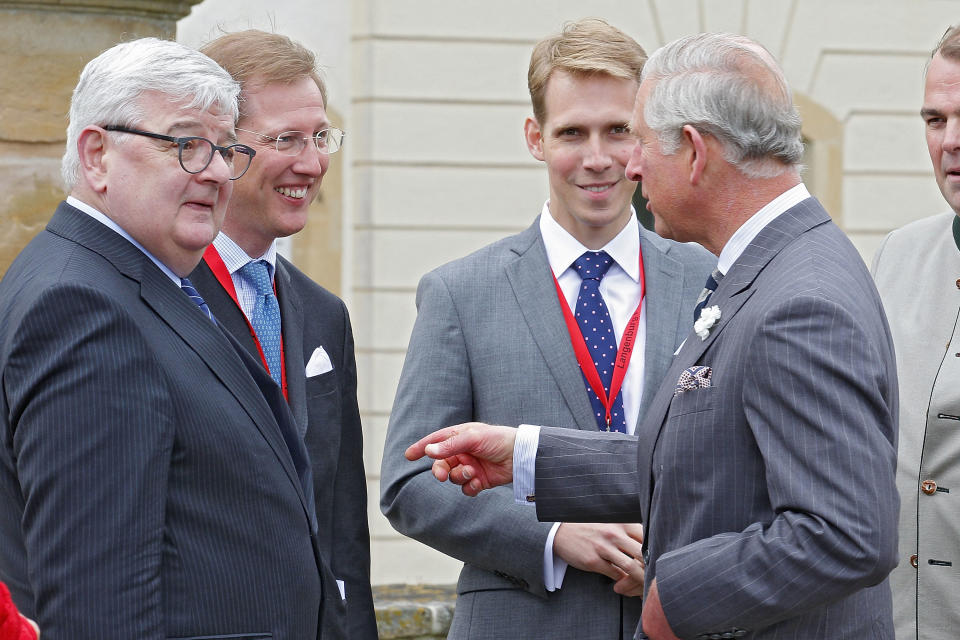 LANGENBURG, GERMANY - MAY 27:  Prince Charles, Prince of Wales (R) talks to Erbprinz Bernhard von Baden (2ndL), Joschka Fischer (L) and guest during his visit at Schloss Langenburg on May 27, 2013 in Langenburg, Germany.  (Photo by Thomas Niedermueller/Getty Images)