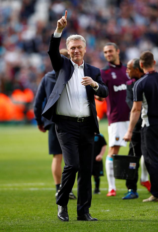"Soccer Football - Premier League - West Ham United vs Everton - London Stadium, London, Britain - May 13, 2018 West Ham United manager David Moyes during a lap of honour after the match REUTERS/Eddie Keogh EDITORIAL USE ONLY. No use with unauthorized audio, video, data, fixture lists, club/league logos or ""live"" services. Online in-match use limited to 75 images, no video emulation. No use in betting, games or single club/league/player publications. Please contact your account representative for further details."