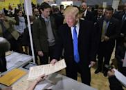 Donald Trump was jeered as he voted in the 2016 election in Manhattan