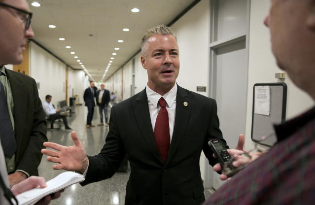 Republican gubernatorial candidate Assemblyman Travis Allen, R-Huntington Beach, discusses a judge's ruling in Sacramento, Calif., in September 2017.  (Photo: Rich Pedroncelli/AP)