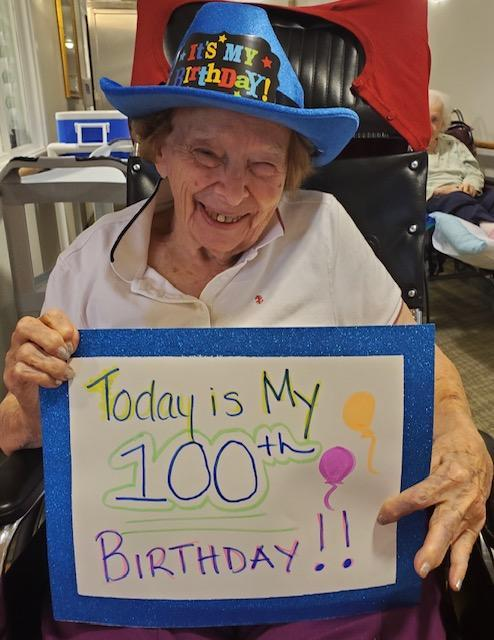 Millie Erickson celebrates her 100th birthday thanks to loving family and nursing home staff members. (Photo: Sterling Village)