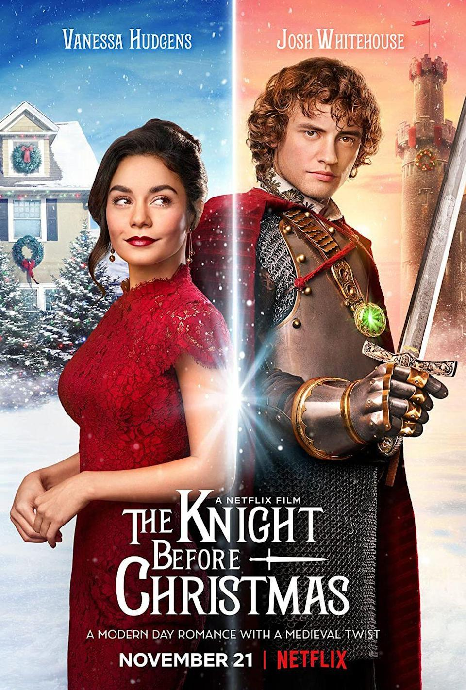 """<p><em>he Knight Before Christmas</em> officially gets the award for the best Christmas pun/title on this list. Vanessa Hudgens stars as Brooke, a teacher who has given up on love until she (quite literally) runs into Sir Cole Christopher Frederick Lyons, a medieval knight who has somehow ended up in the present day. </p><p>Brooke, of course, feels compelled to help Sir Cole get back to his right time period or remember who he actually is—whichever comes first. That is, unless Brooke and Sir Cole find themselves living happily ever after instead...</p><p><a class=""""link rapid-noclick-resp"""" href=""""https://www.netflix.com/title/81026188"""" rel=""""nofollow noopener"""" target=""""_blank"""" data-ylk=""""slk:Watch Now"""">Watch Now</a></p>"""