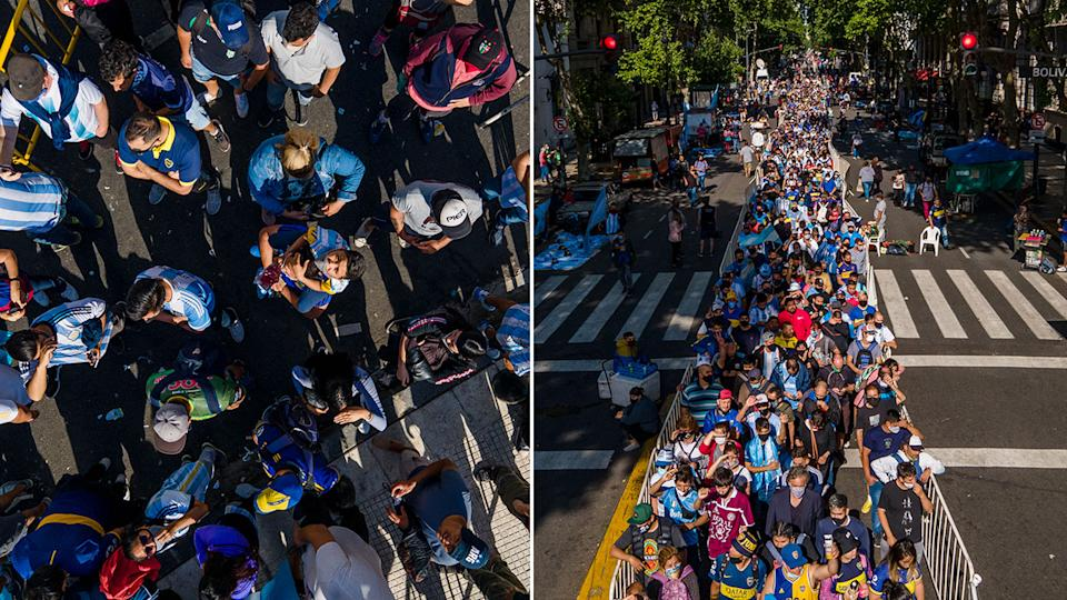 Huge lines of people are seen here queuing up to see Maradona's coffin.