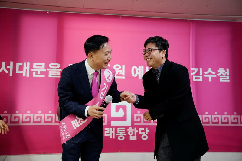 North Korean defector Ji Seong-ho attends an opening ceremony for an election campaign of the main opposition United Future Party in Seoul