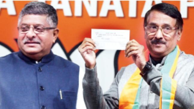 "Welcoming him into the party, Ravi Shankar Prasad said, ""He has decided to join us as he was tired of Congress policies and impressed with the BJP."""