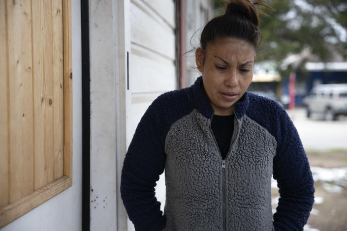 FILE - In this Feb. 18, 2021, file photo, Maria Pineda speaks about her son's future plans, in Conroe, Texas. Pineda son, Cristian Pavon Pineda, 11-years-old, died of suspected hypothermia as temperatures plummeted into the teens on Tuesday, Feb. 16. (Gustavo Huerta/Houston Chronicle via AP, File)