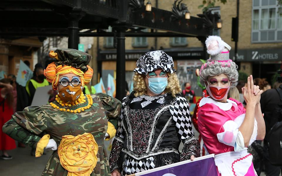 Pantomime dames and events industry workers march from London's West End to Parliament Square, asking Government support to mitigate the effects of lockdown - Anadolu