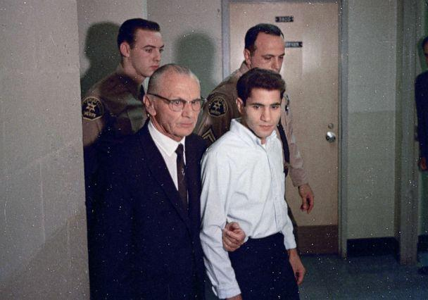 PHOTO: Sirhan Sirhan, right, accused assassin of Sen. Robert F. Kennedy with his attorney Russell E. Parsons in Los Angeles, June 1968. (AP)
