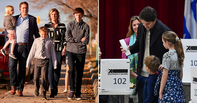 The Scheer and Trudeau families turned up to vote in the 2019 Canadian federal election on Monday, October 21.