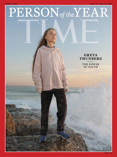 """This photo provided by Time magazine shows Greta Thunberg, who has been named Time's youngest """"person of the year"""" on Wednesday, Dec. 11, 2019.   The media franchise said Wednesday on its website that Thunberg is being honored for work that transcends backgrounds and borders.  (Time via AP)"""