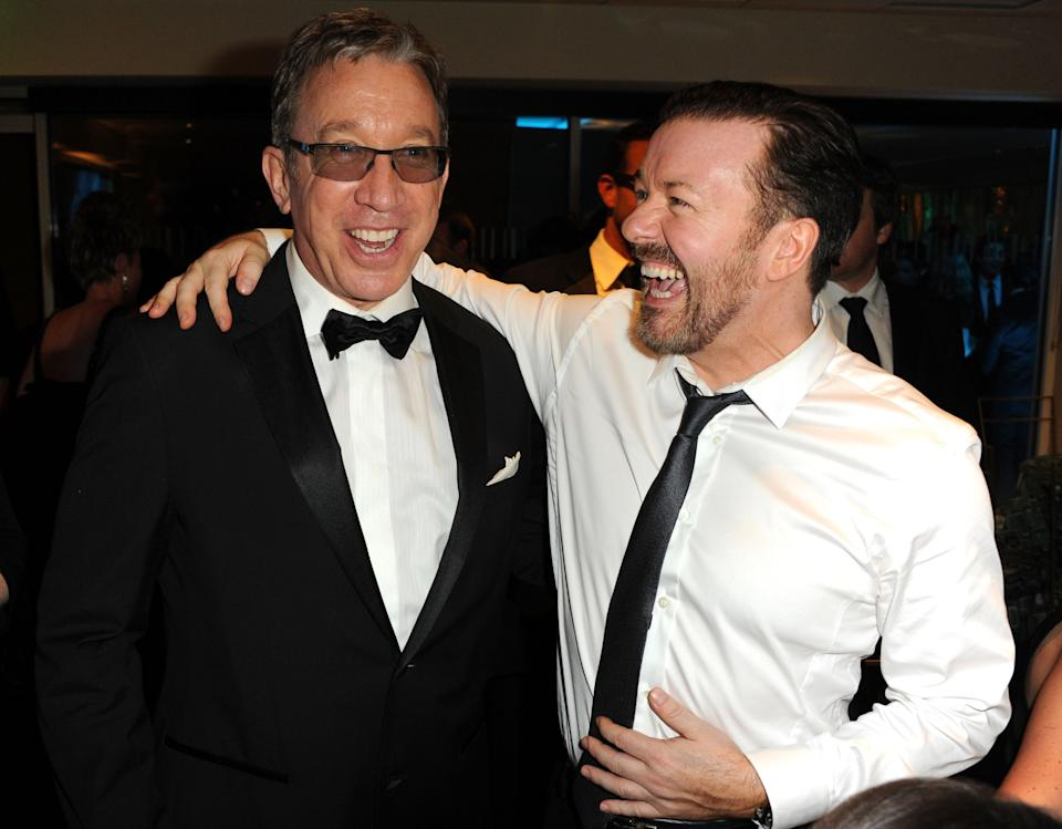 BEVERLY HILLS, CA - JANUARY 16:  (EXCLUSIVE COVERAGE) Actors Tim Allen and Ricky Gervais attend HBO's 68th Annual Golden Globe Awards Official After Party held at The Beverly Hilton hotel on January 16, 2011 in Beverly Hills, California.  (Photo by Jeff Kravitz/FilmMagic)
