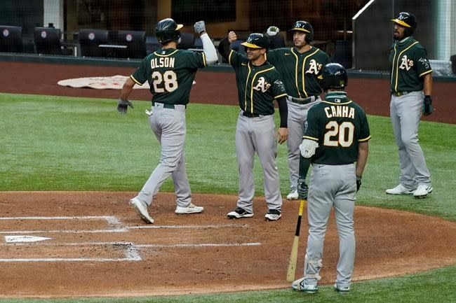 Olson cleanup slam in 1st sends A's to 10-6 win over Rangers
