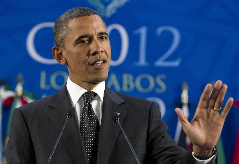 President Barack Obama speaks during a news conference at the G20 Summit, Tuesday, June 19, 2012, in Los Cabos, Mexico. (AP Photo/Carolyn Kaster)