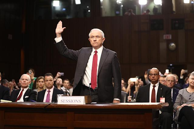 <p>Jeff Sessions, U.S. attorney general, swears in to a Senate Intelligence Committee hearing with U.S. Attorney General Jeff Sessions in Washington, D.C., on Tuesday, June 13, 2017. (Photo: Andrew Harrer/Bloomberg via Getty Images) </p>