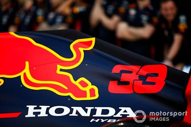 "A Honda logo on the engine cover of the Max Verstappen Red Bull Racing RB15 <span class=""copyright"">Andrew Hone / Motorsport Images</span>"