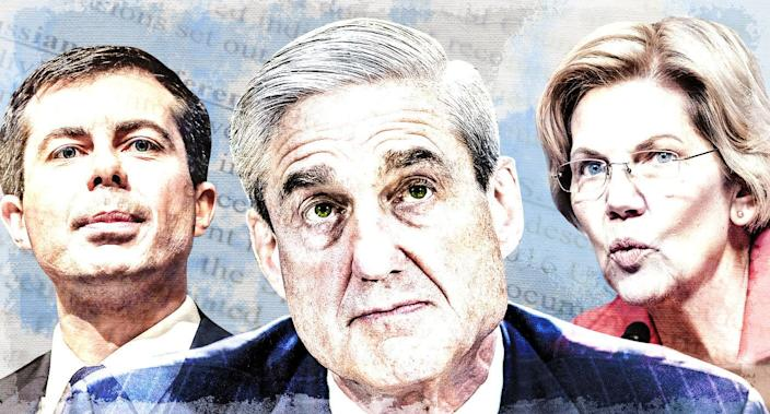 Pete Buttigieg, Robert Mueller and Elizabeth Warren (Yahoo News photo illustration; photos: AP, Getty Images)