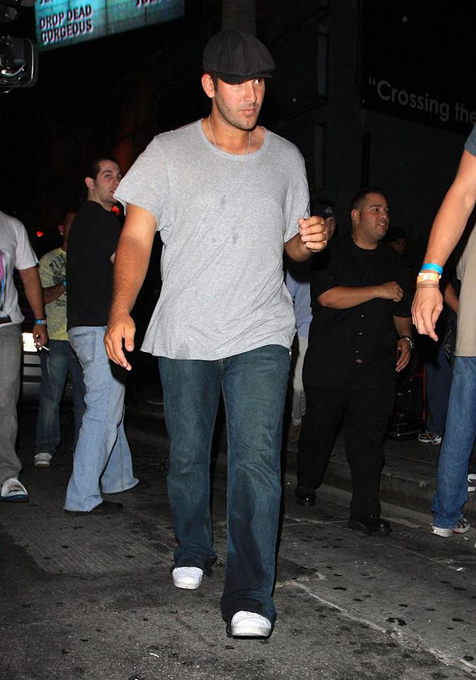 "Tony Romo exits the Key Club in West Hollywood, a place he used to frequent with his ex-girlfriend. Looks like someone dumped a drink on him. Perhaps a Jessica Simpson fan? Hellmuth Dominguez/<a href=""http://www. PacificCoastNews.com"" target=""new"">PacificCoastNews.com</a> - July 13, 2009"