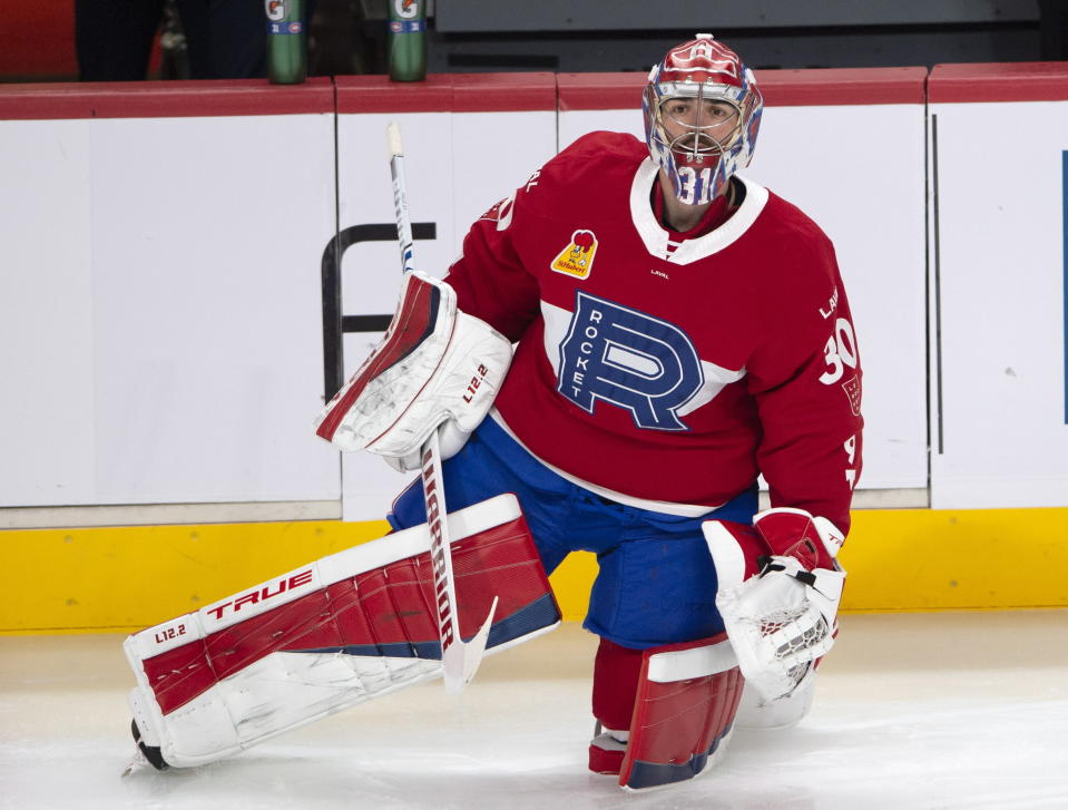 Montreal Canadiens goaltender Carey Price warms up before the Laval Rocket against the Toronto Marlies American Hockey League game in Montreal, Monday, May 17, 2021. Price and teammate Brendan Gallagher are on a one-game conditioning loan to the Rocket before their playoff series against the Toronto Maple Leafs. (Ryan Remiorz/The Canadian Press via AP)