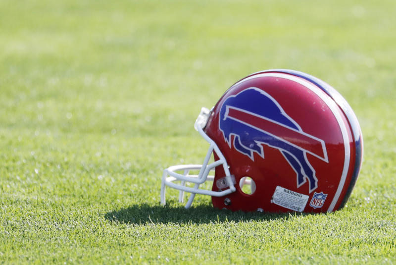 Buffalo Bills helmet on the field.