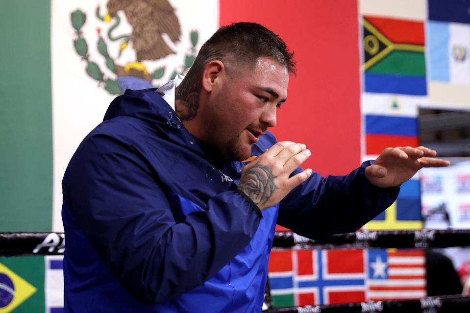 SAN DIEGO, CALIFORNIA - APRIL 22: Heavyweight boxer Andy Ruiz Jr. works out during a training session on April 22, 2021 in San Diego, California. Ruiz is training for his upcoming fight against Chris Arreola on May 1, 2021. (Photo by Sean M. Haffey/Getty Images)