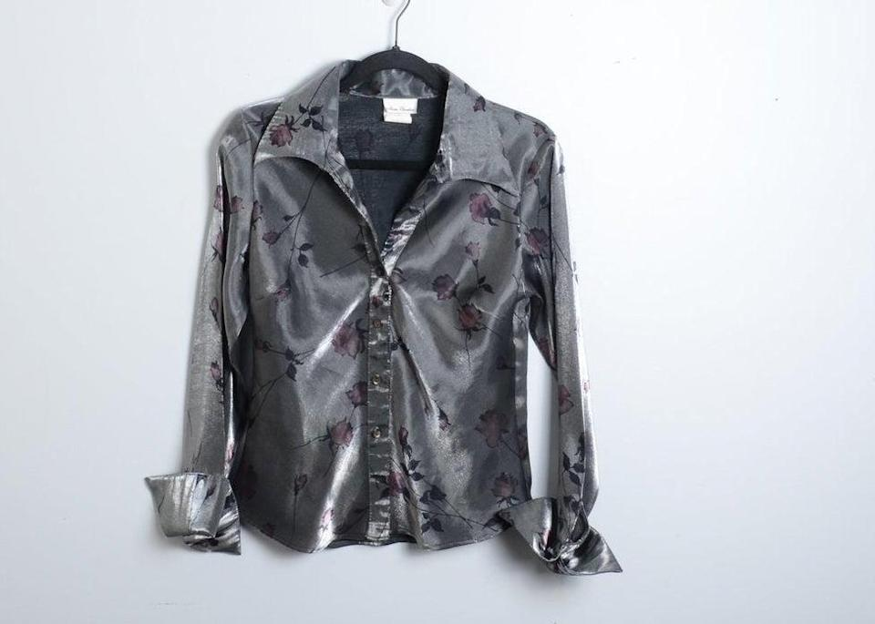 Faux satin grey blouse with rose pattern on it