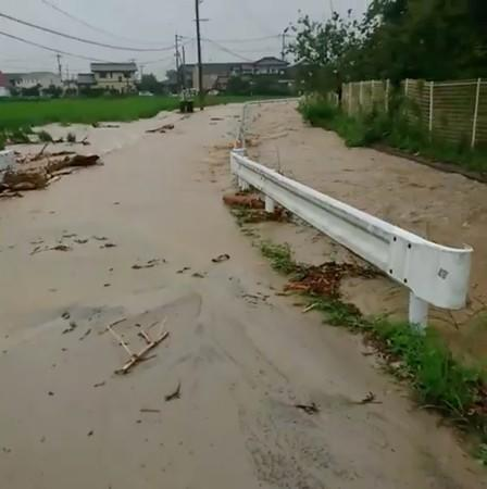 Floodwaters are seen after heavy rains in Saga city