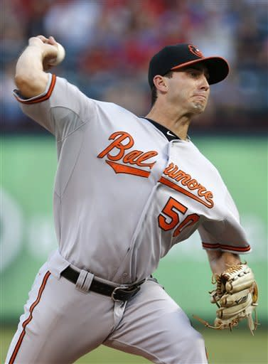 Baltimore Orioles starting pitcher Miguel Gonzalez (50) throws to the Texas Rangers during the first inning of a baseball game, Monday, Aug. 20, 2012, in Arlington, Texas. (AP Photo/Jim Cowsert)