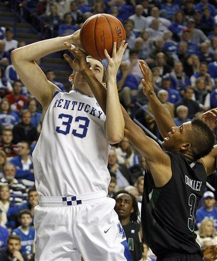 Kentucky's Kyle Wiltjer, left, is fouled by Loyola's Dylan Cormier during the second half of an NCAA college basketball game in Lexington, Ky., Thursday, Dec. 22, 2011. Kentucky won 87-63. (AP Photo/James Crisp)