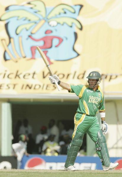 ST KITTS,  WEST INDIES - MARCH 16:  Mark Boucher of South Africa celebrates his 50 during the ICC Cricket World Cup 2007 Group A match between Netherlands and South Africa at Warner Park on March 16, 2007 in Basseterre, St Kitts and Nevis.  (Photo by Gallo Images/Getty Images)