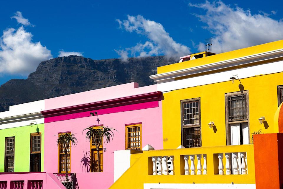 Colored Houses In Bo Kapp, In Cape Town, South Africa With Houses Painted In Vibrant Colors