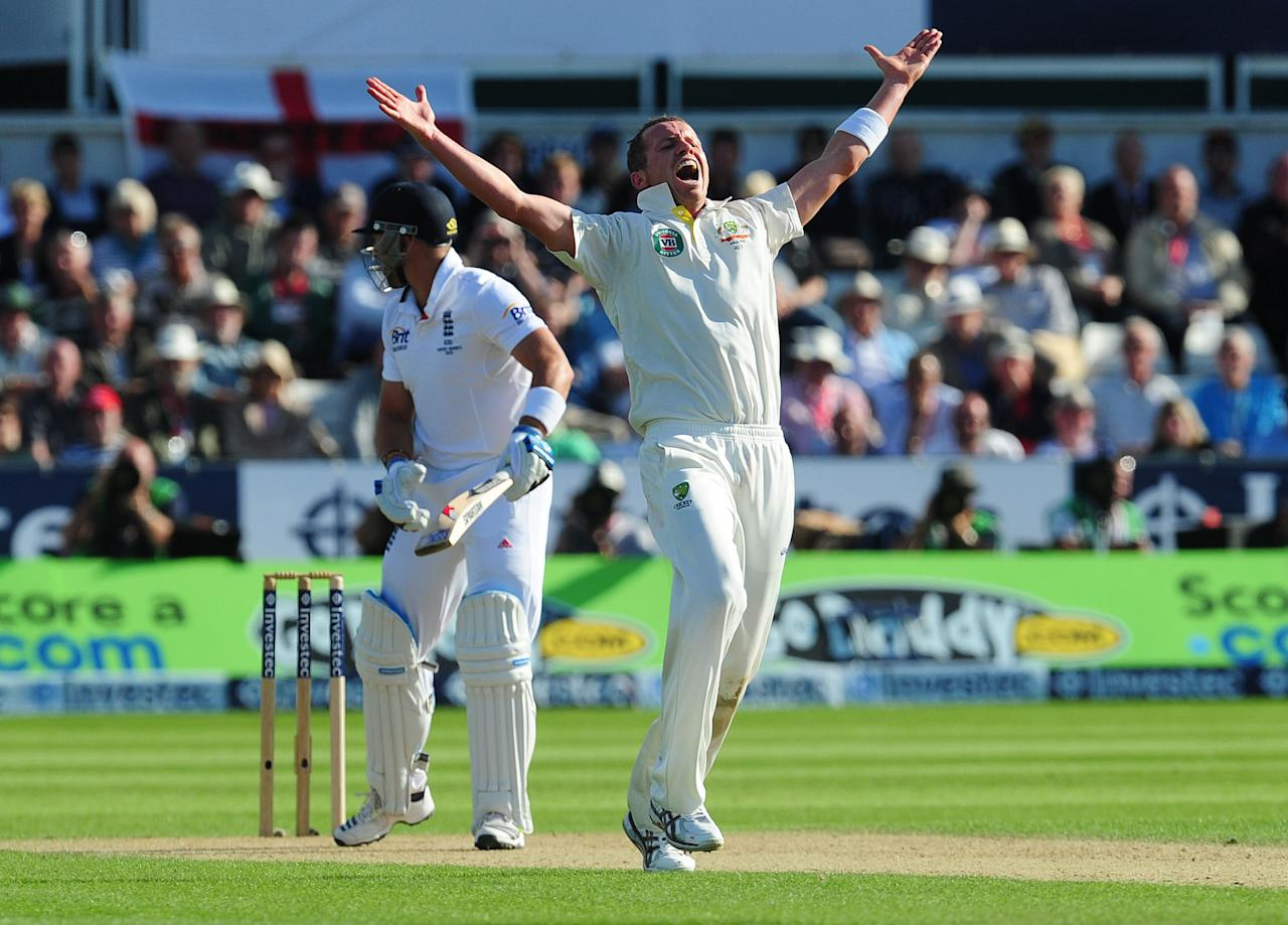 Australia's Peter Siddle sucessfully appeals for the wicket of England's Matt Prior during day one of the Investec Fourth Ashes test match at the Emirates Durham ICG, Durham.