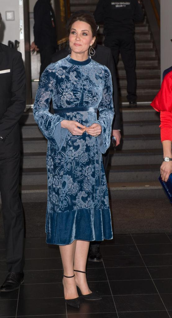 <p>The Duchess of Cambridge donned a velvet Erdem gown for her final night in Sweden and the look cost a cool £2,690.<br>She accessorised the midi dress with a pair of earrings by Robinson Pelham and Gianvito Rossi heels. <em>[Photo: Getty]</em><br></p>