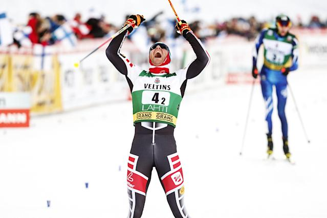 Bernhard Gruber of Austria celebrates victory of the men's Nordic Combined Team Sprint after cross-country skiiing of the FIS World Cup in Lahti, Finland March 3, 2018. LEHTIKUVA/Roni Rekomaa via REUTERS ATTENTION EDITORS - THIS IMAGE WAS PROVIDED BY A THIRD PARTY. NO THIRD PARTY SALES. NOT FOR USE BY REUTERS THIRD PARTY DISTRIBUTORS. FINLAND OUT. NO COMMERCIAL OR EDITORIAL SALES IN FINLAND.