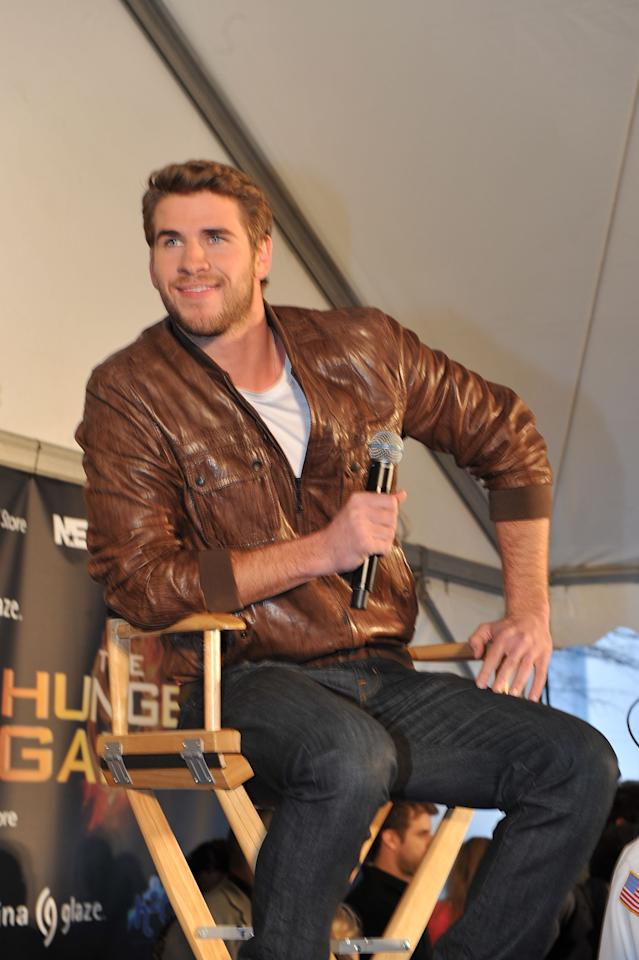"""ATLANTA, GA - MARCH 06: Actor Liam Hemsworth attends """"The Hunger Games"""" National Mall tour fan event at Lenox Square on March 6, 2012 in Atlanta, Georgia. (Photo by Moses Robinson/Getty Images)"""