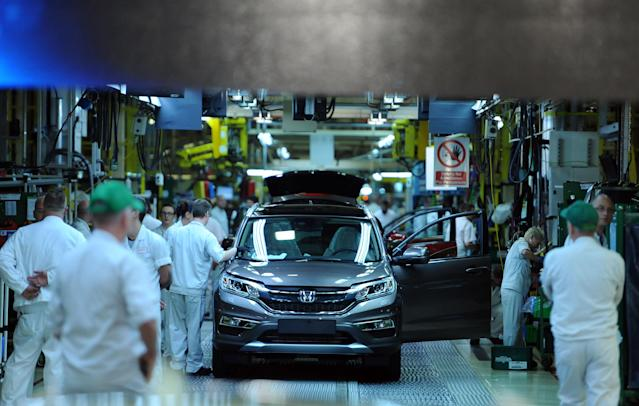 Some of the 3,600 workers at Honda's site in Swindon (PA)
