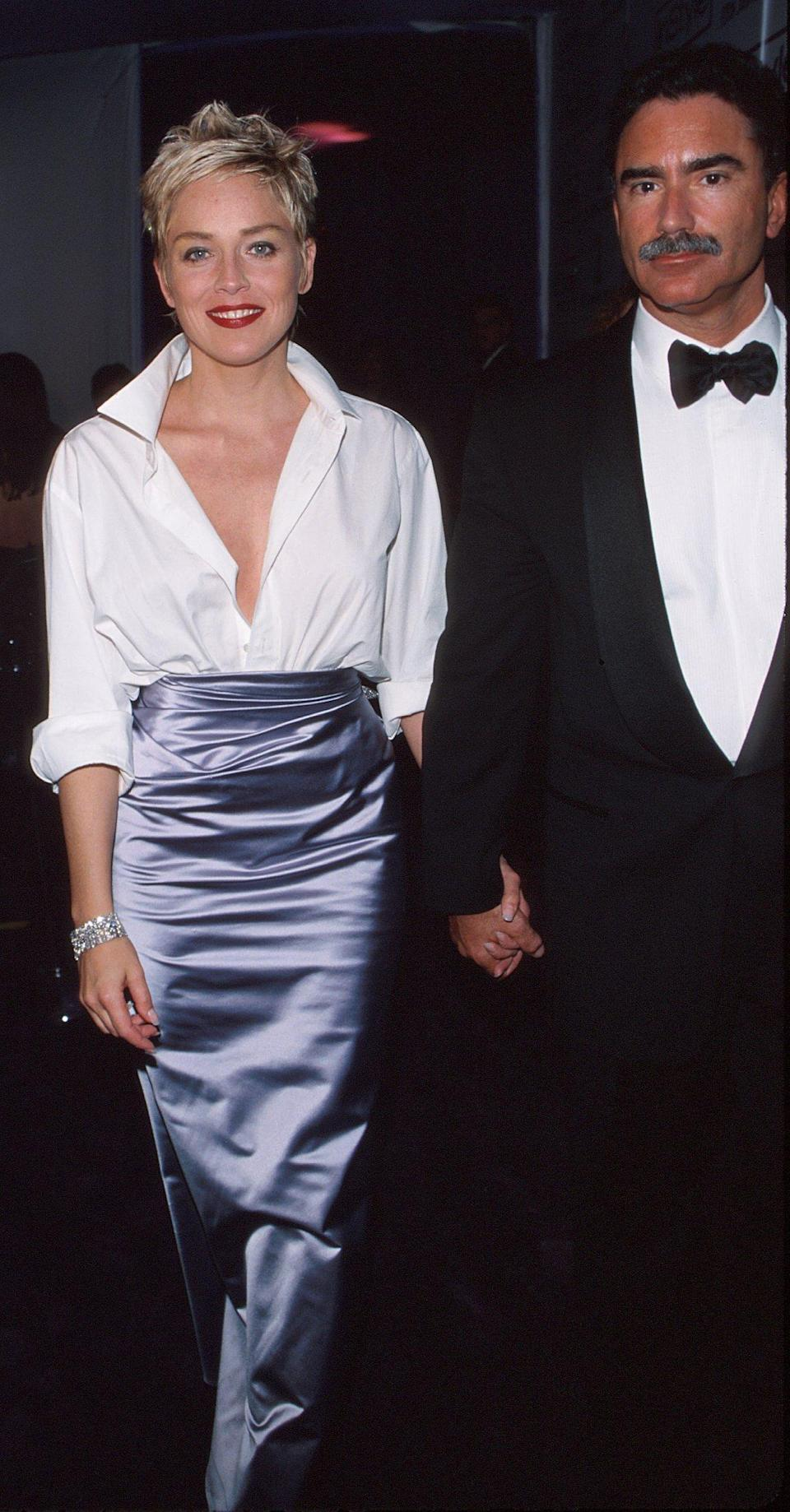 Recently channelled by Meghan Markle at a London awards, Sharon Stone's shirt and skirt combo at the Oscars in 1998 is almost as iconic as the actress herself. While not strictly a dress, we couldn't leave it out of this round-up.