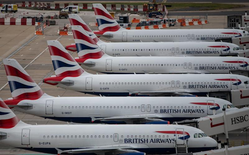 BA planes at Gatwick airport
