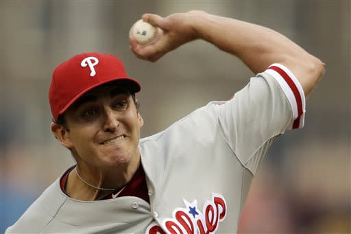 Philadelphia Phillies starting pitcher John Lannan delivers during the first inning of a baseball game against the Pittsburgh Pirates in Pittsburgh, Wednesday, July 3, 2013. (AP Photo/Gene J. Puskar)