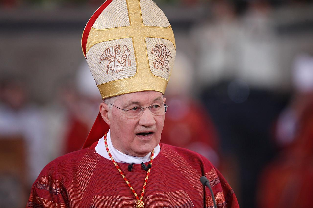 <p>üTRIER, GERMANY - APRIL 13: Cardinal Marc Ouellet holds a mass in celebration of The Pilgrimage of the Holy Robe at the Cathedral of St Peter on April 13, 2012 in Trier, Germany. The Pilgrimage of the Holy Robe runs from April 13 to May 13, during which hundreds of thousands pilgrims are expected to view the Holy Robe. The robe, said to have been worn by Jesus Christ leading up to his crucifixion, is housed by the cathedral and rarely displayed for public viewing. (Photo by Ralph Orlowski/Getty Images)</p>