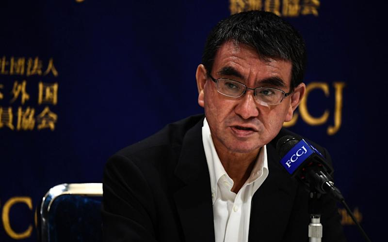 Japan's Defence Minister Taro Kono says that China is trying to change the political status quo in Asia -  CHARLY TRIBALLEAU/AFP