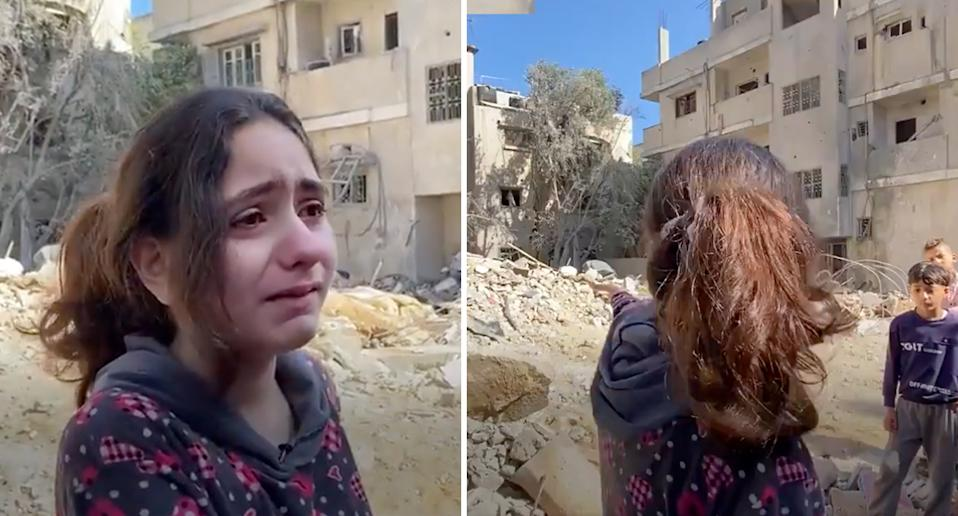 Nadine couldn't hold back her tears as she fronted media in the wake of another airstrike on Gaza. Source: MEE