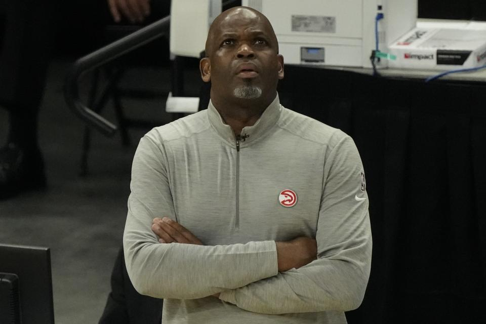 Atlanta Hawks head coach Nate McMillan watches during the first half of Game 1 of the NBA Eastern Conference basketball finals game against the Milwaukee Bucks Wednesday, June 23, 2021, in Milwaukee. (AP Photo/Morry Gash)