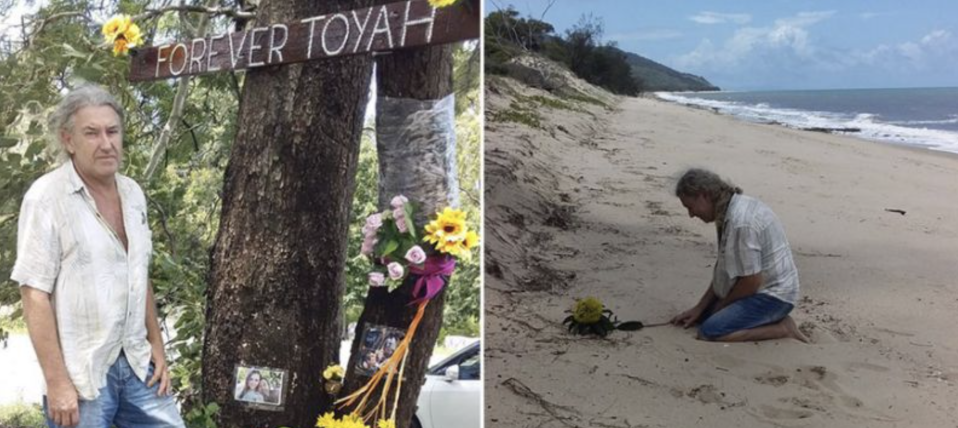 Troy Cordingley pictured with a tribute to his daughter and on Wangetti Beach. Source: Facebook