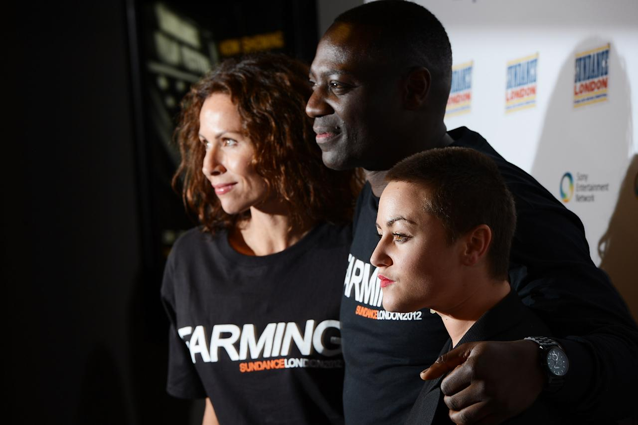 "LONDON, ENGLAND - APRIL 27:  (L-R) Minne Driver, filmmaker Adewale Akinnuoye-Agbaje and Jamie Winstone attend the ""Farming"" screening during Sundance London at Cineworld 02 Arena on April 27, 2012 in London, England.  (Photo by Ian Gavan/Getty Images for Sundance/AEG Europe)"