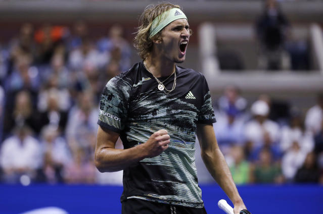 Alexander Zverev, of Germany, reacts after winning a point against Diego Schwartzman, of Argentina, during the fourth round of the US Open tennis championships Monday, Sept. 2, 2019, in New York. (AP Photo/Frank Franklin II)