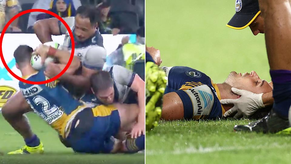 Pictured here, the Felise Kaufusi tackle that left Ryan Matterson concussed.