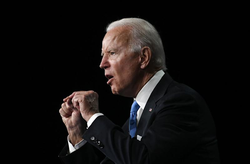 Joe Biden in full flow at the Democratic National Convention: AFP via Getty Images