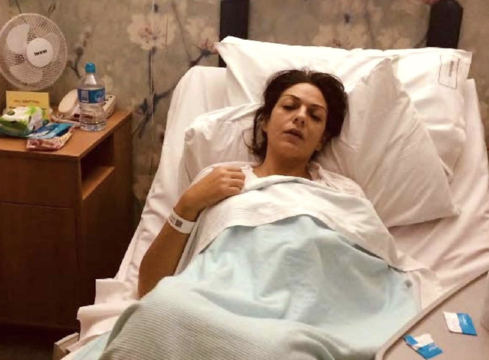 Nicole Elkabbas' allegedly staged picture of her in a hospital bed.