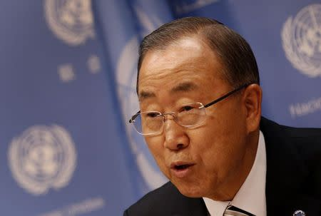 United Nations Secretary General Ban Ki-moon speaks at a news conference ahead of the 69th United Nations General Assembly at U.N. headquarters in New York