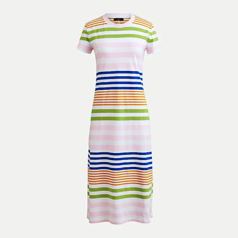 T-shirt dress in stripe. Image via J.Crew.